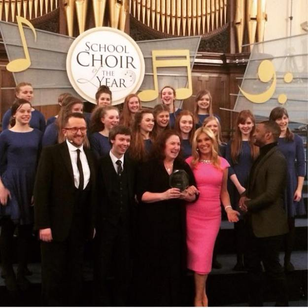 Winning Cantabile with the Judges of BBC Songs of Praise School Choir of the Year 2015